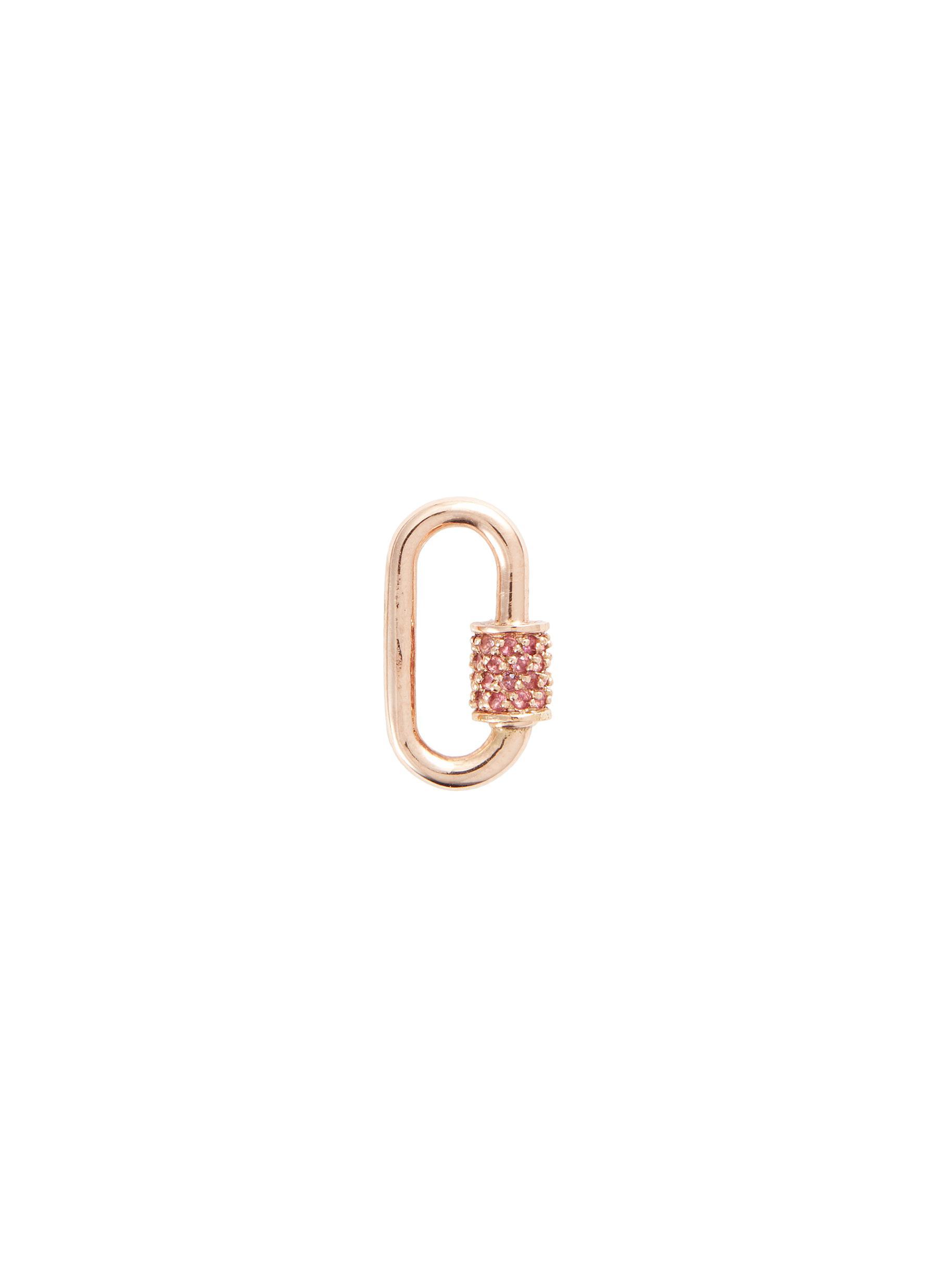 Baguette' pink sapphire 14k rose gold baby lock