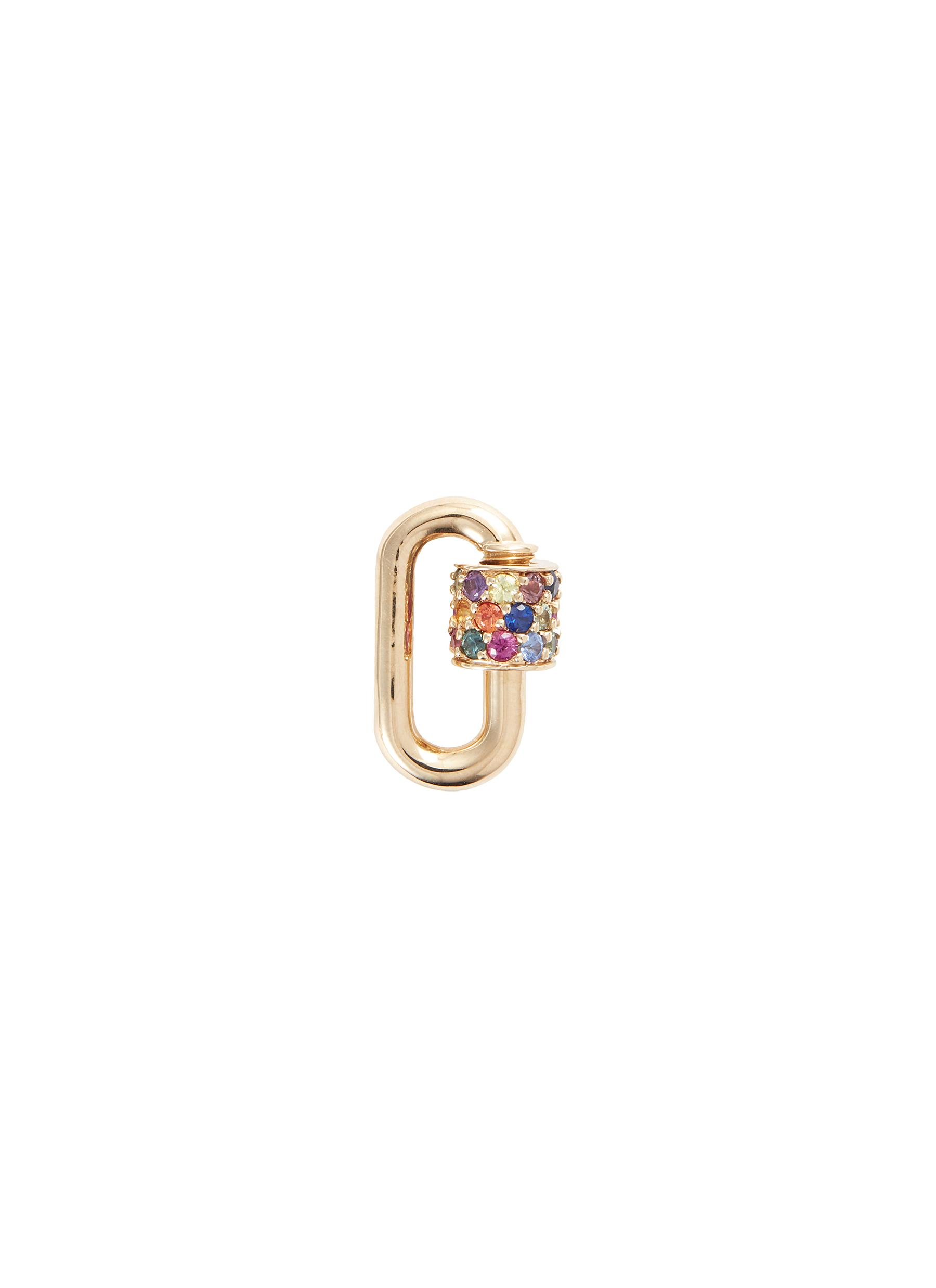 Mixed sapphire 14k yellow gold baguette chubby baby lock