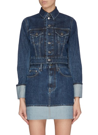 Main View - Click To Enlarge - HELMUT LANG - Cropped roll up cuff denim jacket
