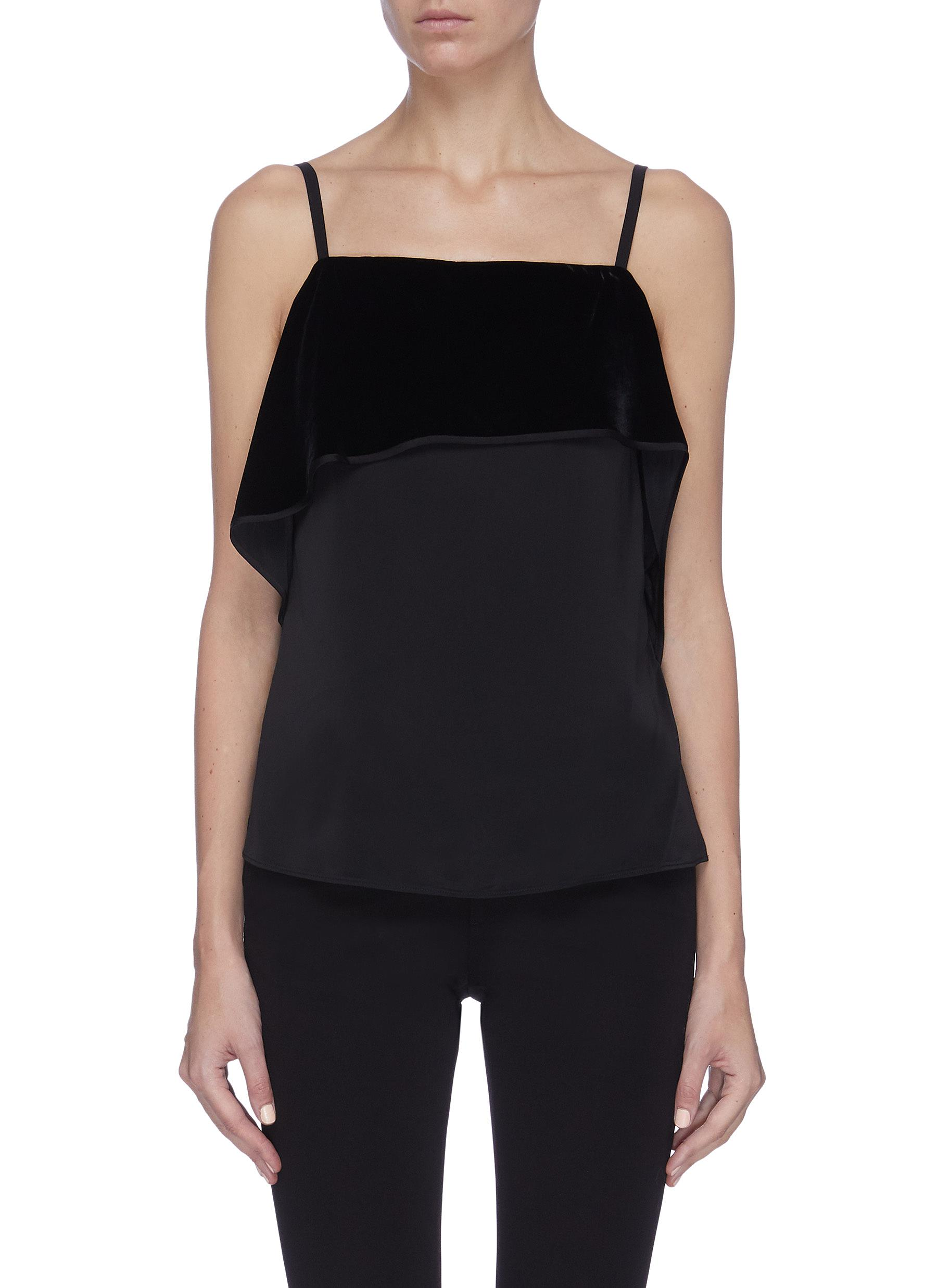 shop Helmut Lang Velvet ruched panel camisole top online