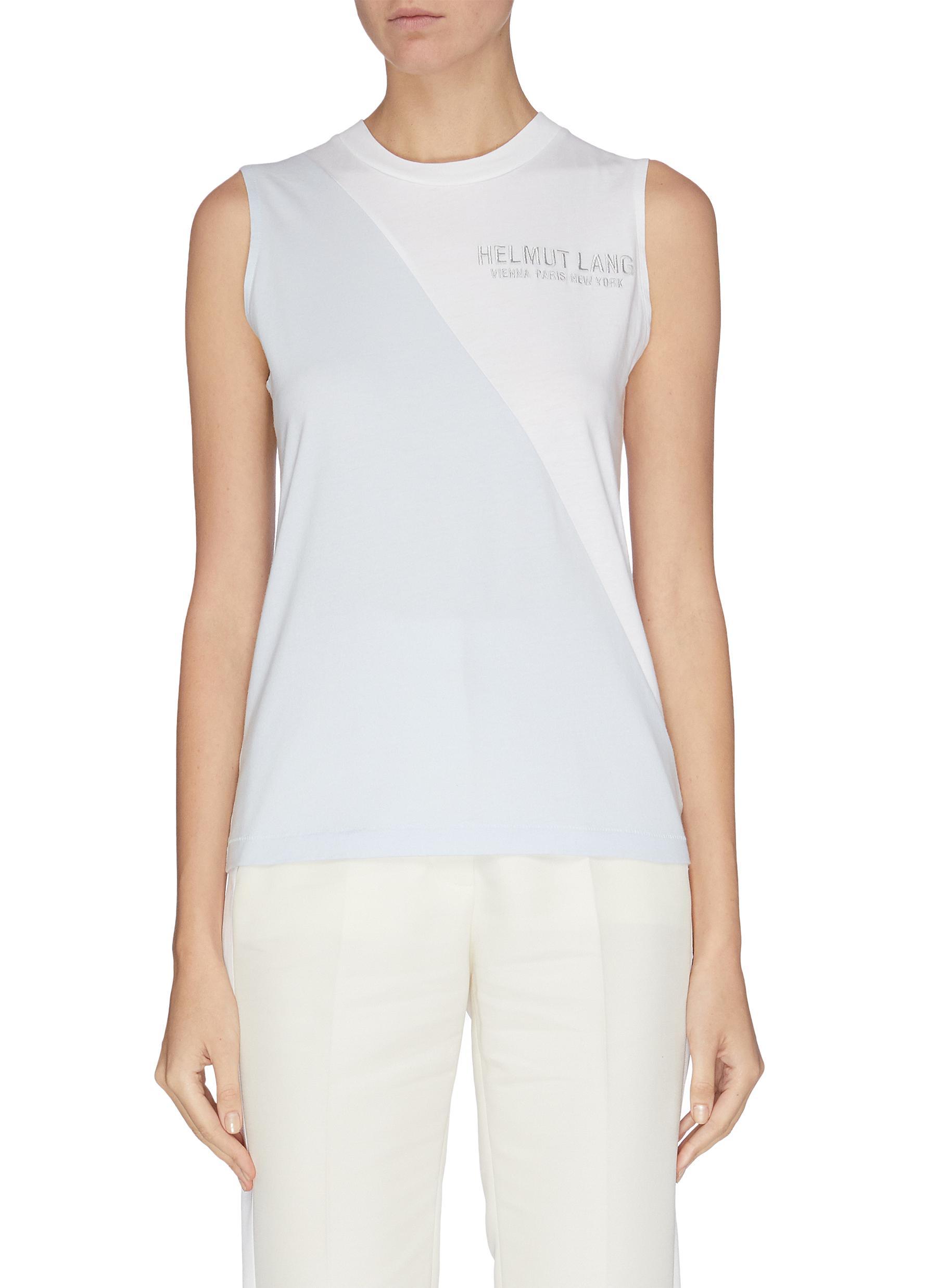 shop Helmut Lang Colourblock graphic print sleeveless T-shirt online