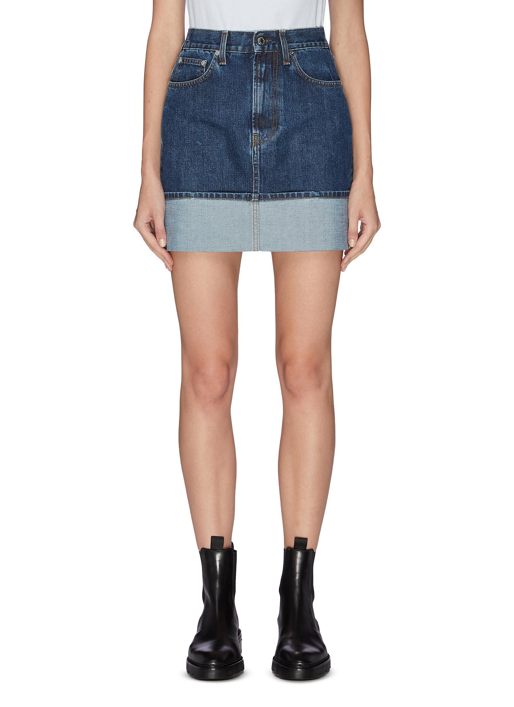 shop Helmut Lang Roll up hem denim mini skirt online