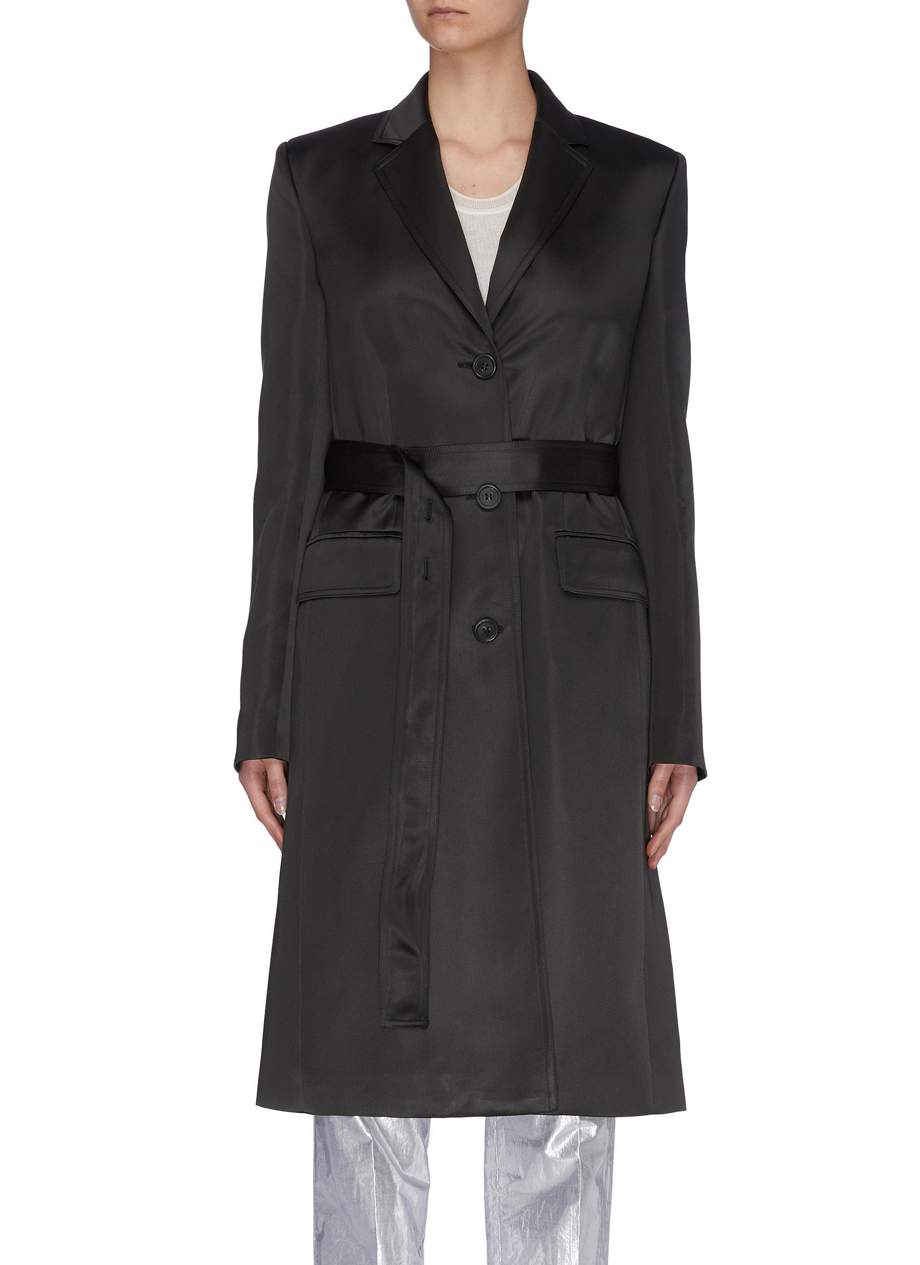shop Helmut Lang Notch lapel belted satin coat online