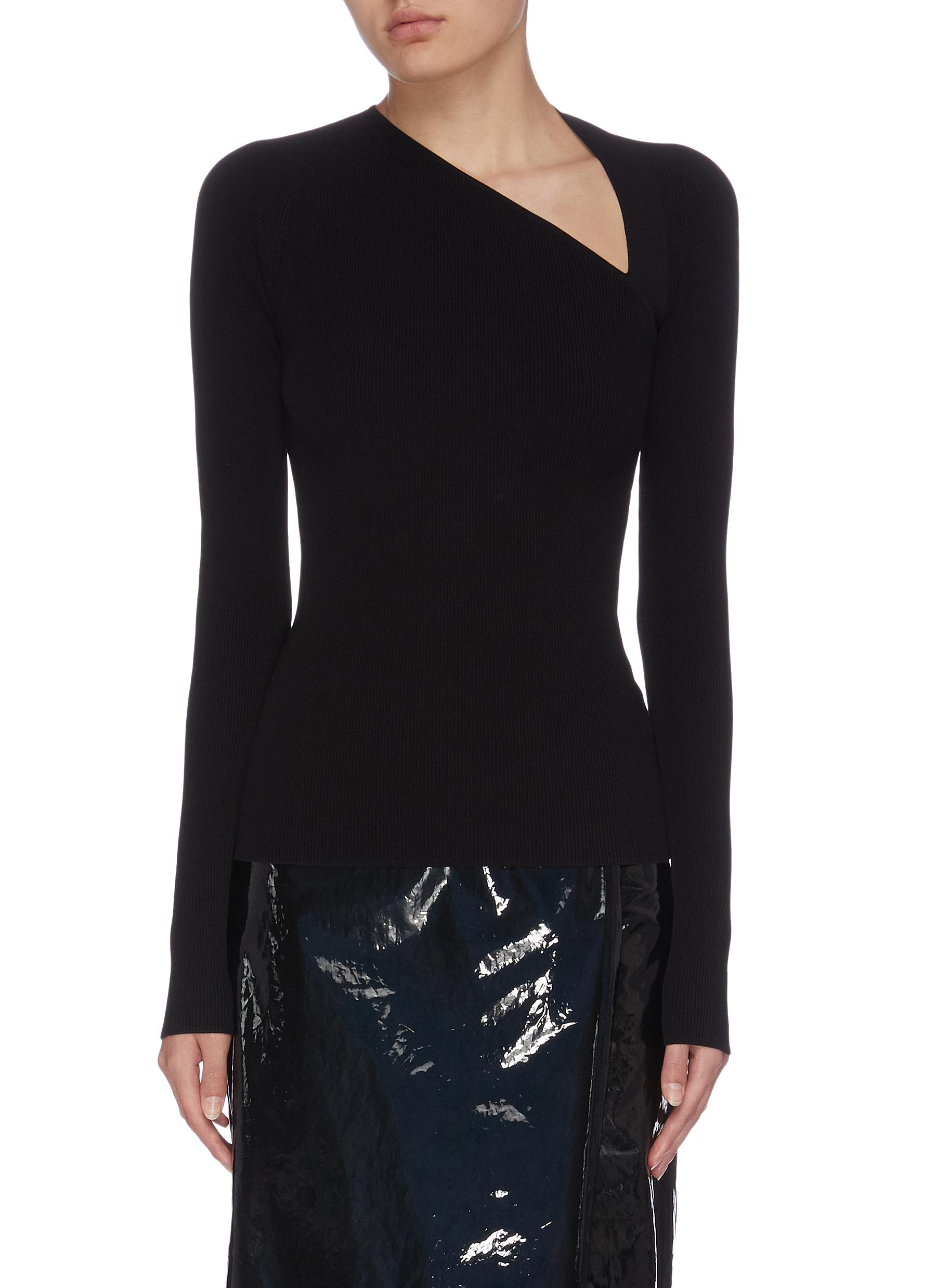 shop Helmut Lang Asymmetric neckline rib knit raglan top online