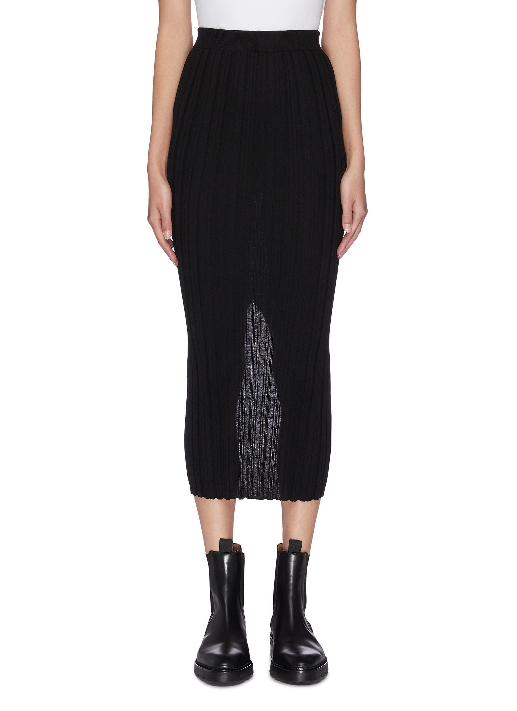 Buy Helmut Lang Skirts Pleated sheer midi skirt