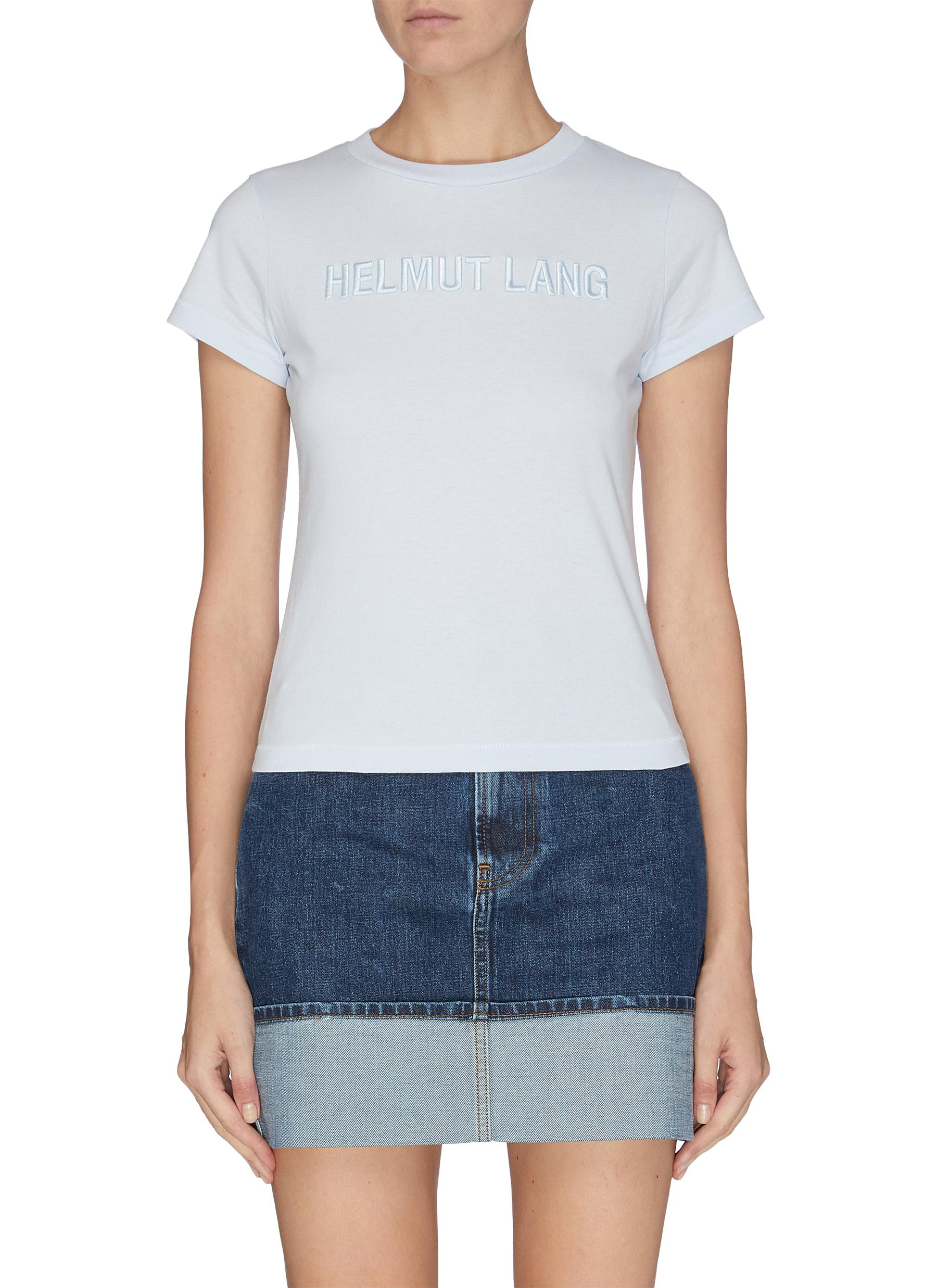 Buy Helmut Lang Tops 'Baby' standard logo embroidered T-shirt