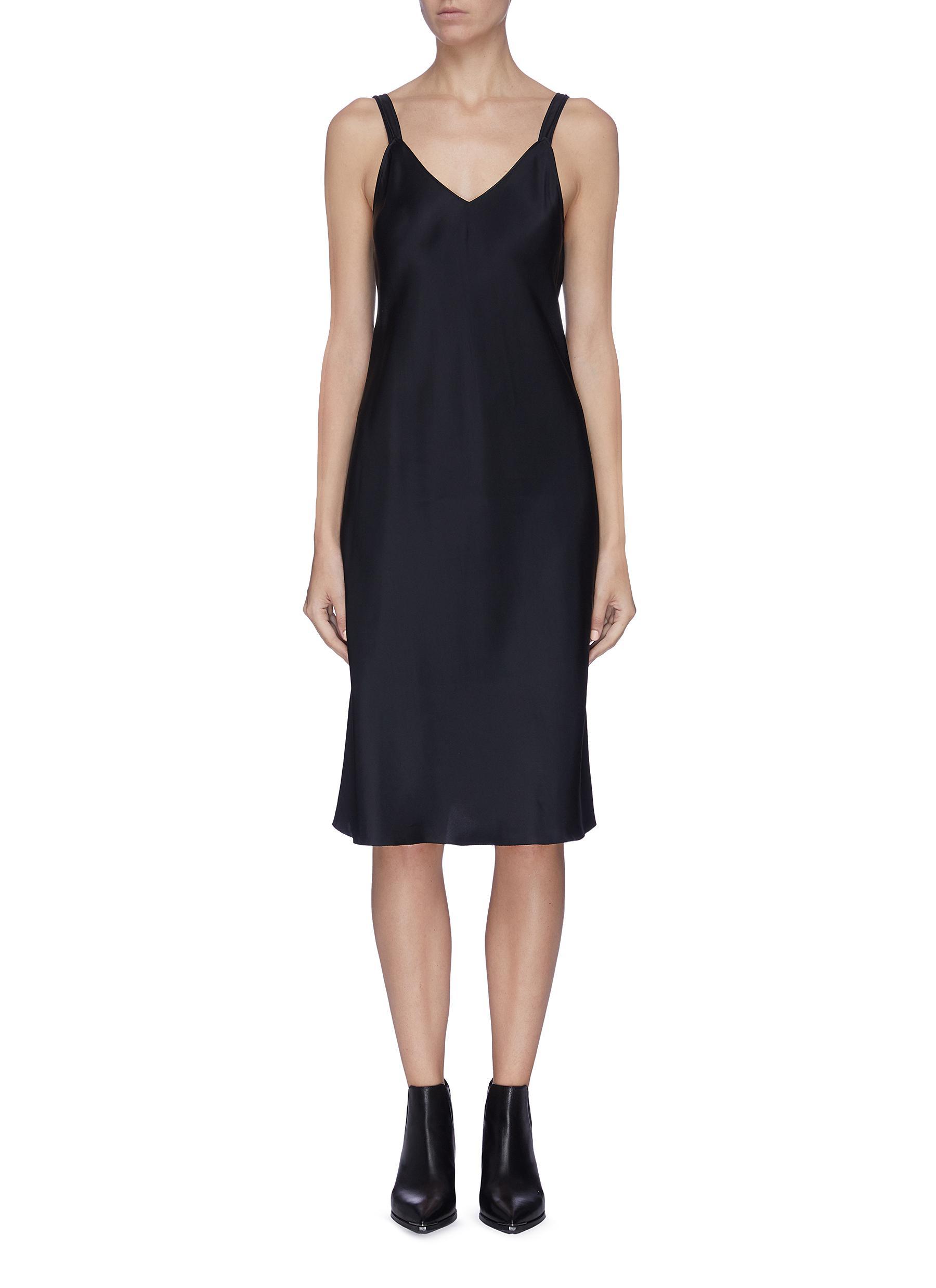 shop Helmut Lang V-neck strap details satin slip dress online