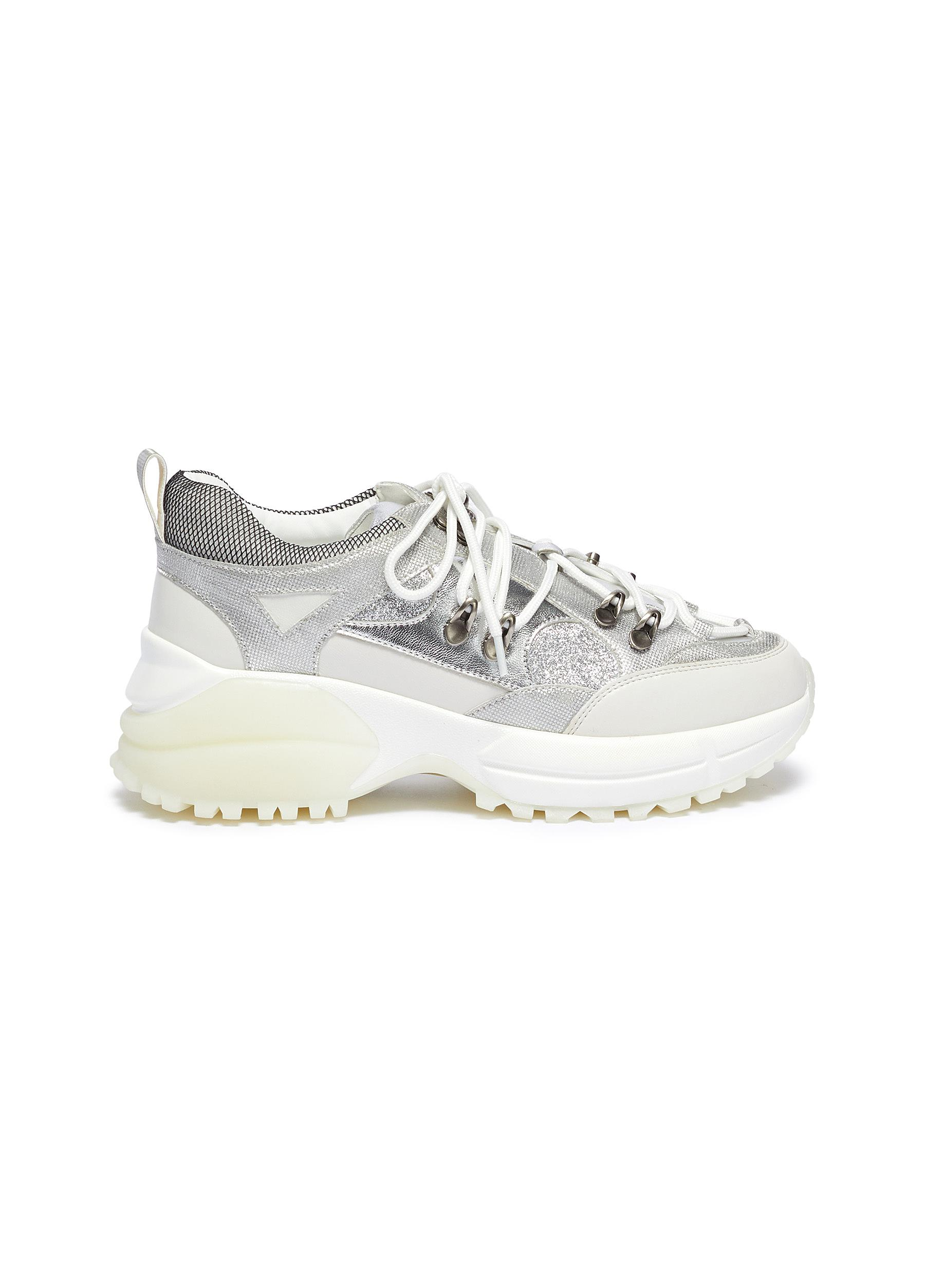 Mia panelled chunky sneakers by Pedder Red