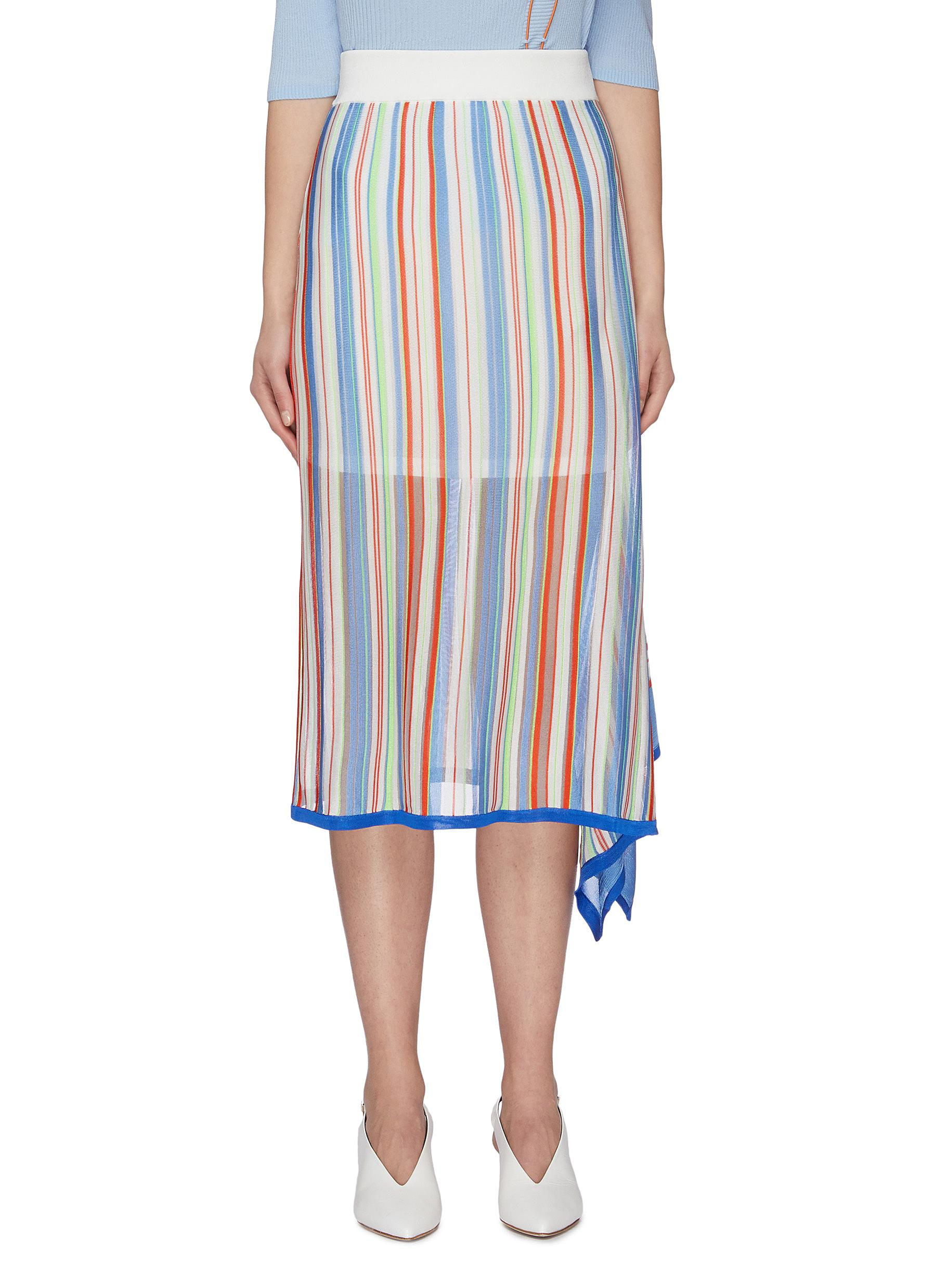 shop I-Am-Chen Asymmetric Stripe Skirt online