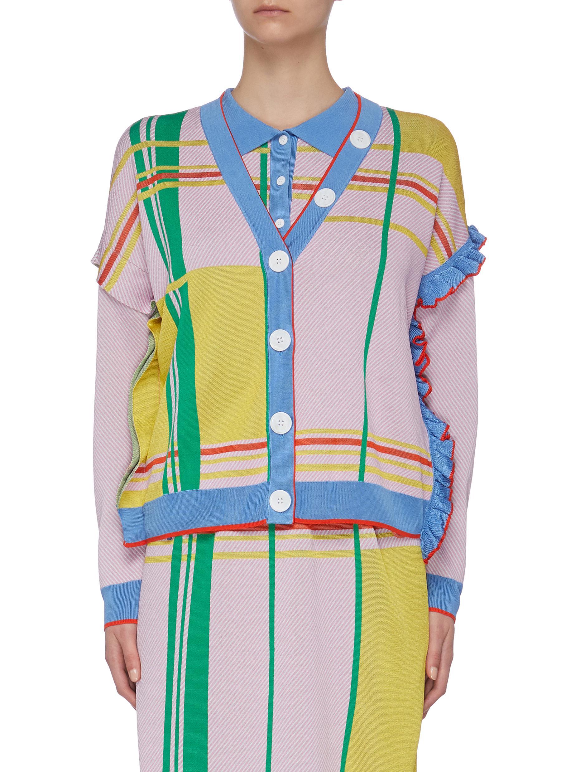 shop I-Am-Chen Colourblock Ruffle Cardigan online