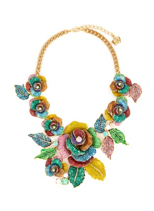 Main View - Click To Enlarge - BUTLER & WILSON - Roses and leaves motif embellished necklace