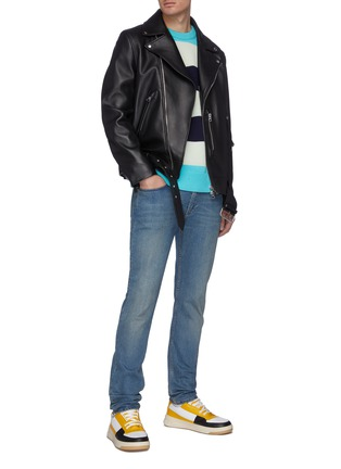Figure View - Click To Enlarge - ACNE STUDIOS - Asymmetric belt leather jacket
