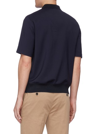 Back View - Click To Enlarge - BARENA - 'Argo Tela' contrast collar zip-up wool polo