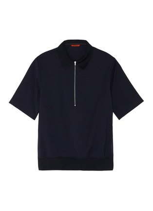 Main View - Click To Enlarge - BARENA - 'Argo Tela' contrast collar zip-up wool polo