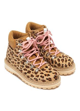 Figure View - Click To Enlarge - DIEMME - 'Roccia Viet' leopard print calfhair kids hiking boots