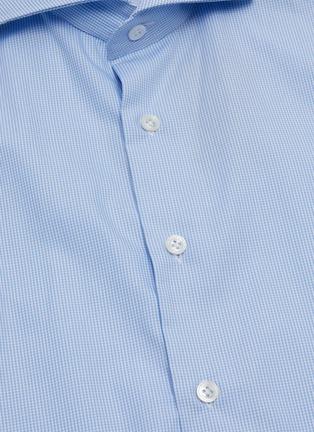 - LARDINI - Spread collar micro check cotton placket shirt