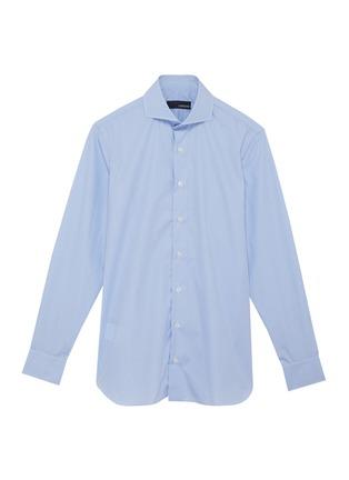 Main View - Click To Enlarge - LARDINI - Spread collar micro check cotton placket shirt