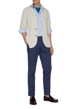 Figure View - Click To Enlarge - LARDINI - Spread collar micro check cotton placket shirt