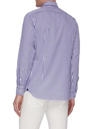 Back View - Click To Enlarge - LARDINI - Point collar stripe cotton shirt