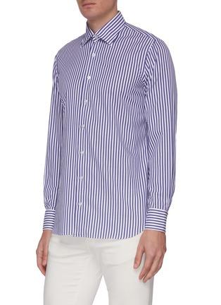 Front View - Click To Enlarge - LARDINI - Point collar stripe cotton shirt