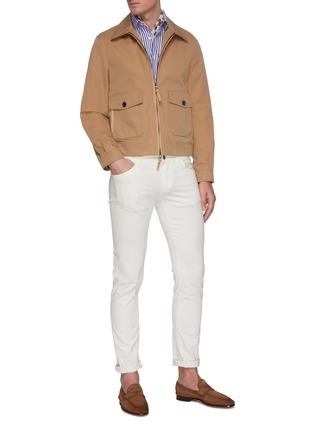 Figure View - Click To Enlarge - LARDINI - Point collar stripe cotton shirt