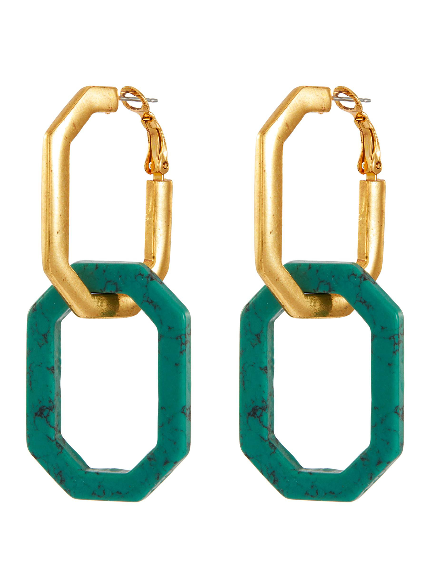 Oscar De La Renta Elongated Octagon Link Earrings
