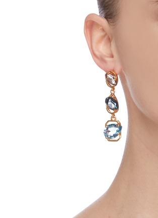 Figure View - Click To Enlarge - OSCAR DE LA RENTA - Swarovski crystal drop earrings