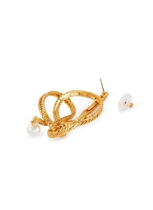 Detail View - Click To Enlarge - OSCAR DE LA RENTA - Twist knot braided chain pearl drop earrings