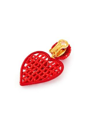 Detail View - Click To Enlarge - OSCAR DE LA RENTA - Embellished heart-shaped clip on earrings