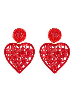 Main View - Click To Enlarge - OSCAR DE LA RENTA - Embellished heart-shaped clip on earrings