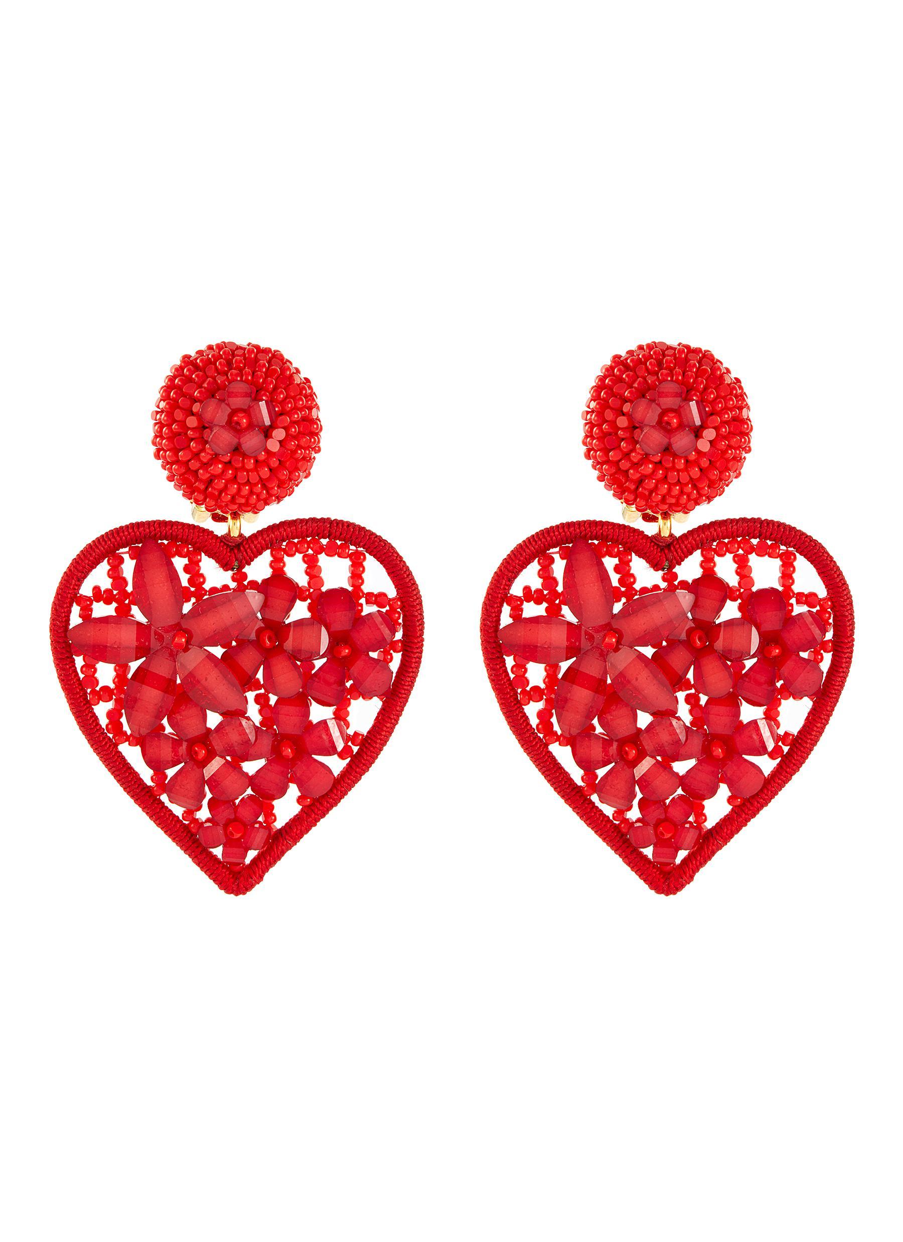Oscar De La Renta Embellished Heart-Shaped Clip On Earrings