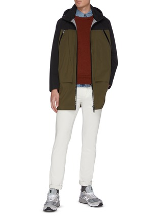 Figure View - Click To Enlarge - SAVE THE DUCK - 'Grinx' panelled colourblock long shell jacket