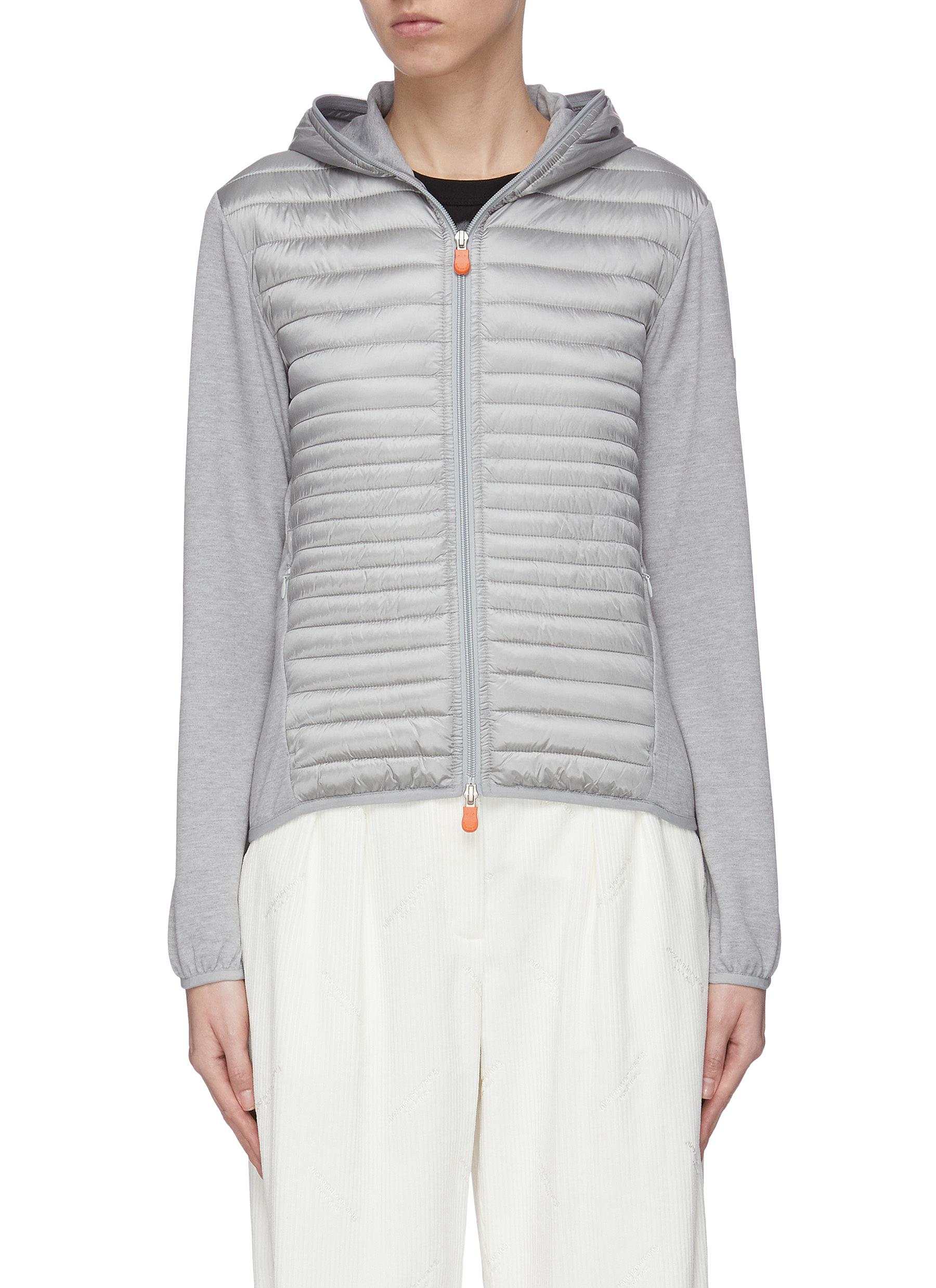 shop Save The Duck 'Irfex' hooded cotton panelled nylon down jacket online