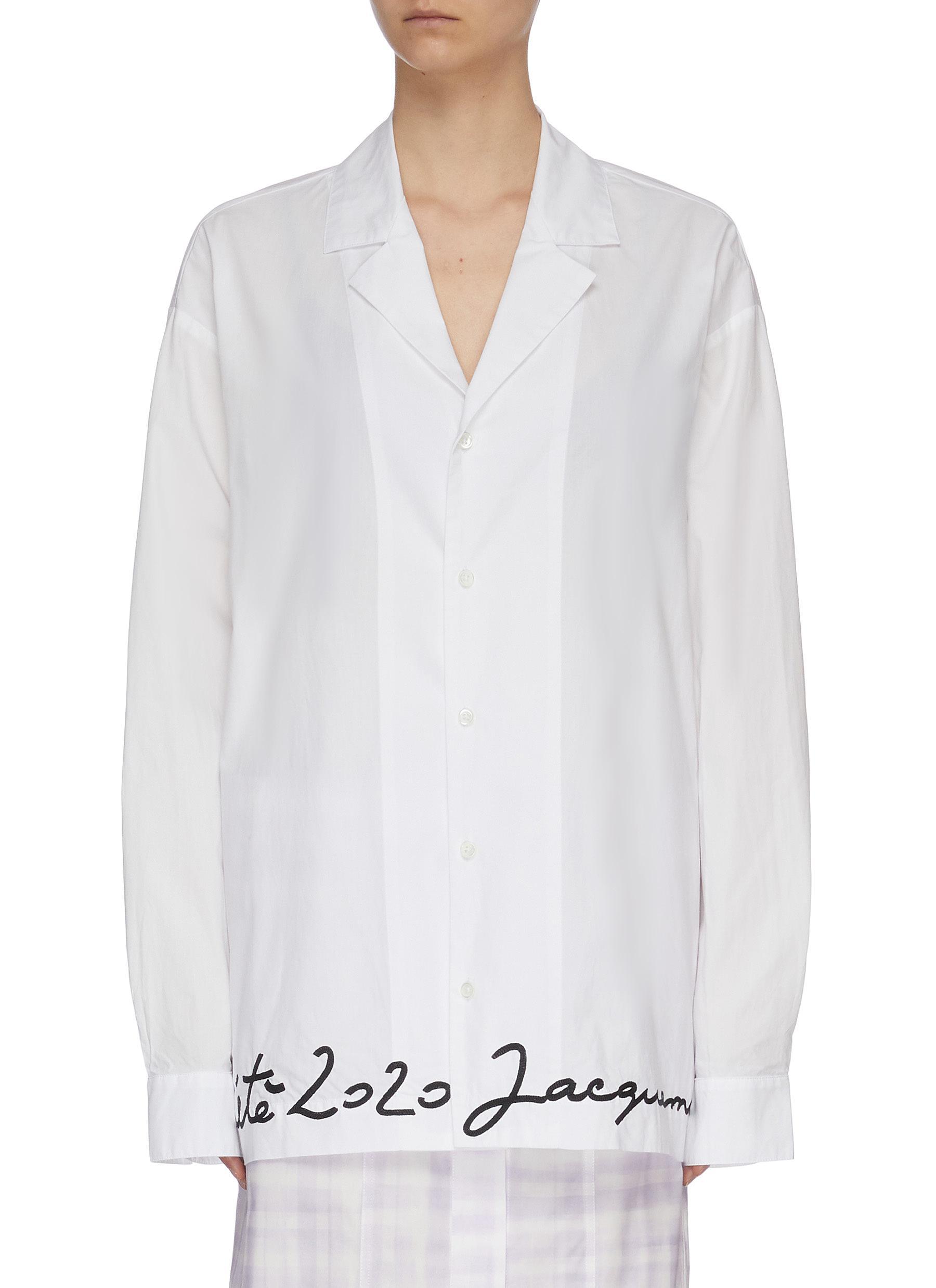 shop Jacquemus Oversized logo embroidered placket shirt online