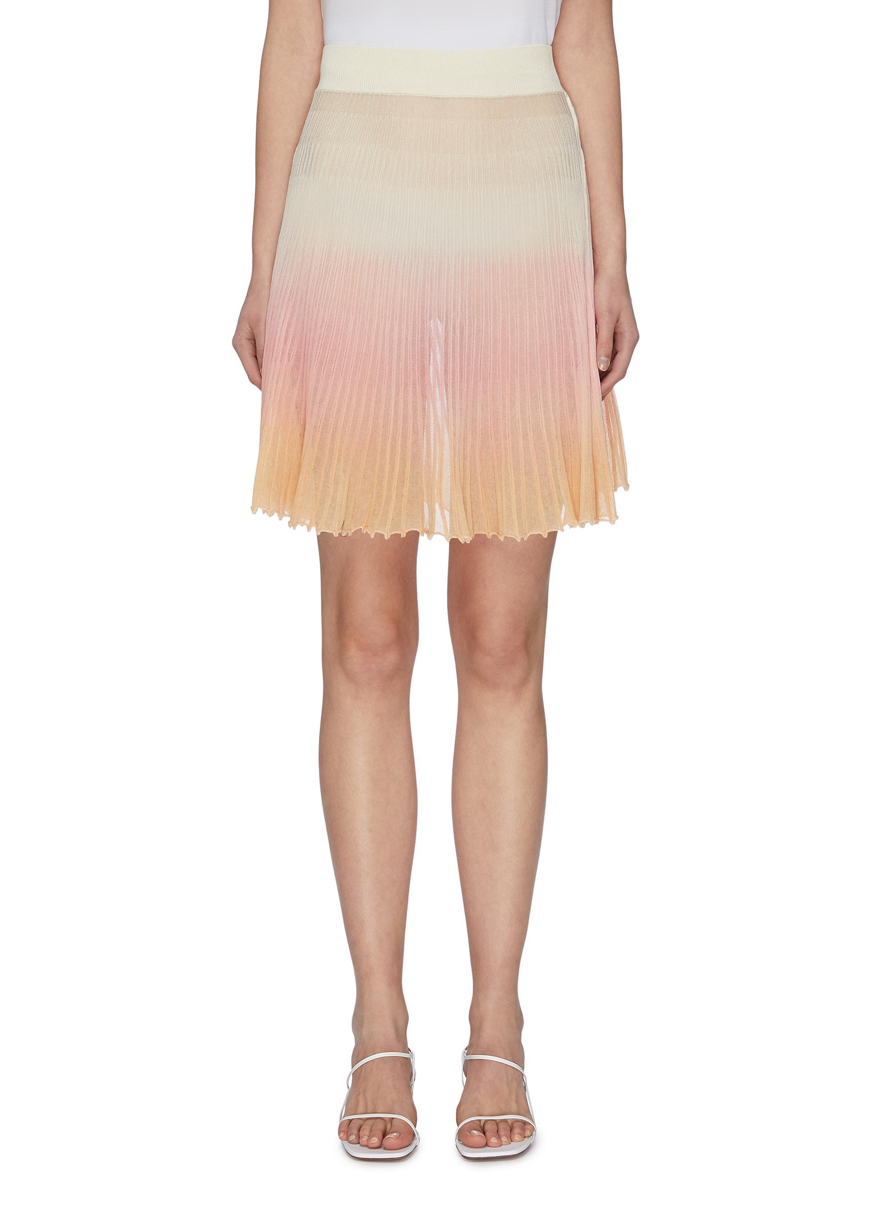 shop Jacquemus Gradient flared pleated knit skirt online