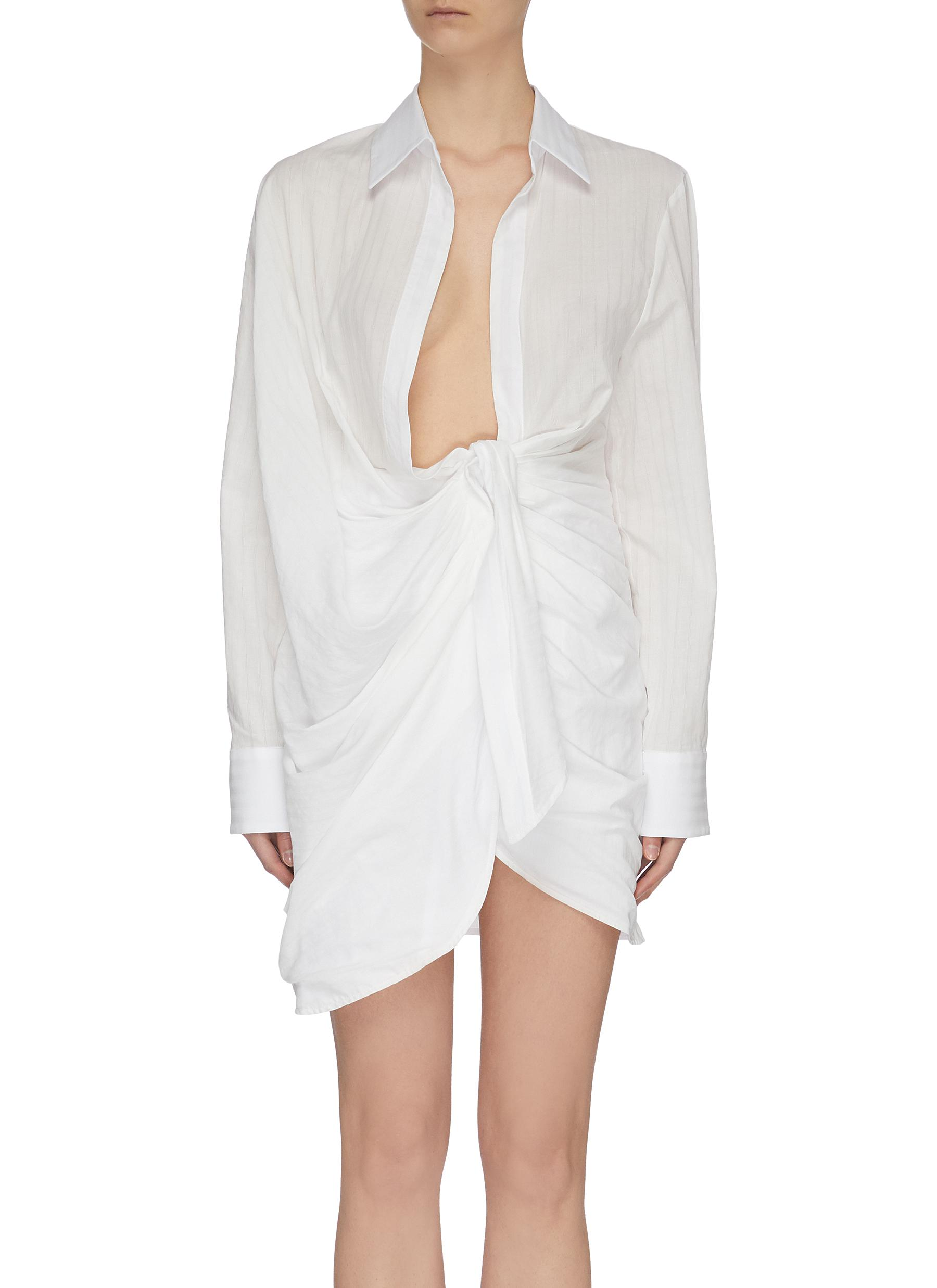 Buy Jacquemus Dresses Twisted front shirt dress