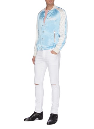 Figure View - Click To Enlarge - BALMAIN - Distressed soft wash jeans