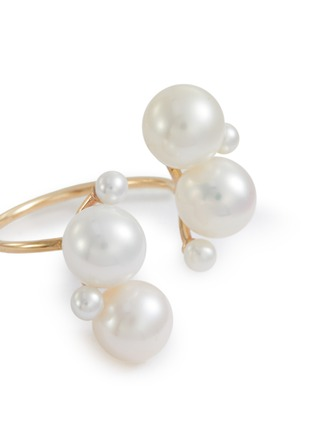 Detail View - Click To Enlarge - SARAH & SEBASTIAN - 'Buoy' fresh water pearls 10k yellow gold open ring