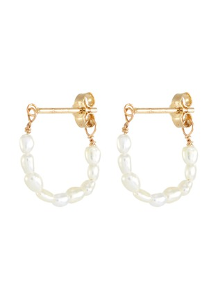 Main View - Click To Enlarge - SARAH & SEBASTIAN - Akoya keshi pearl 10k gold hoop earrings