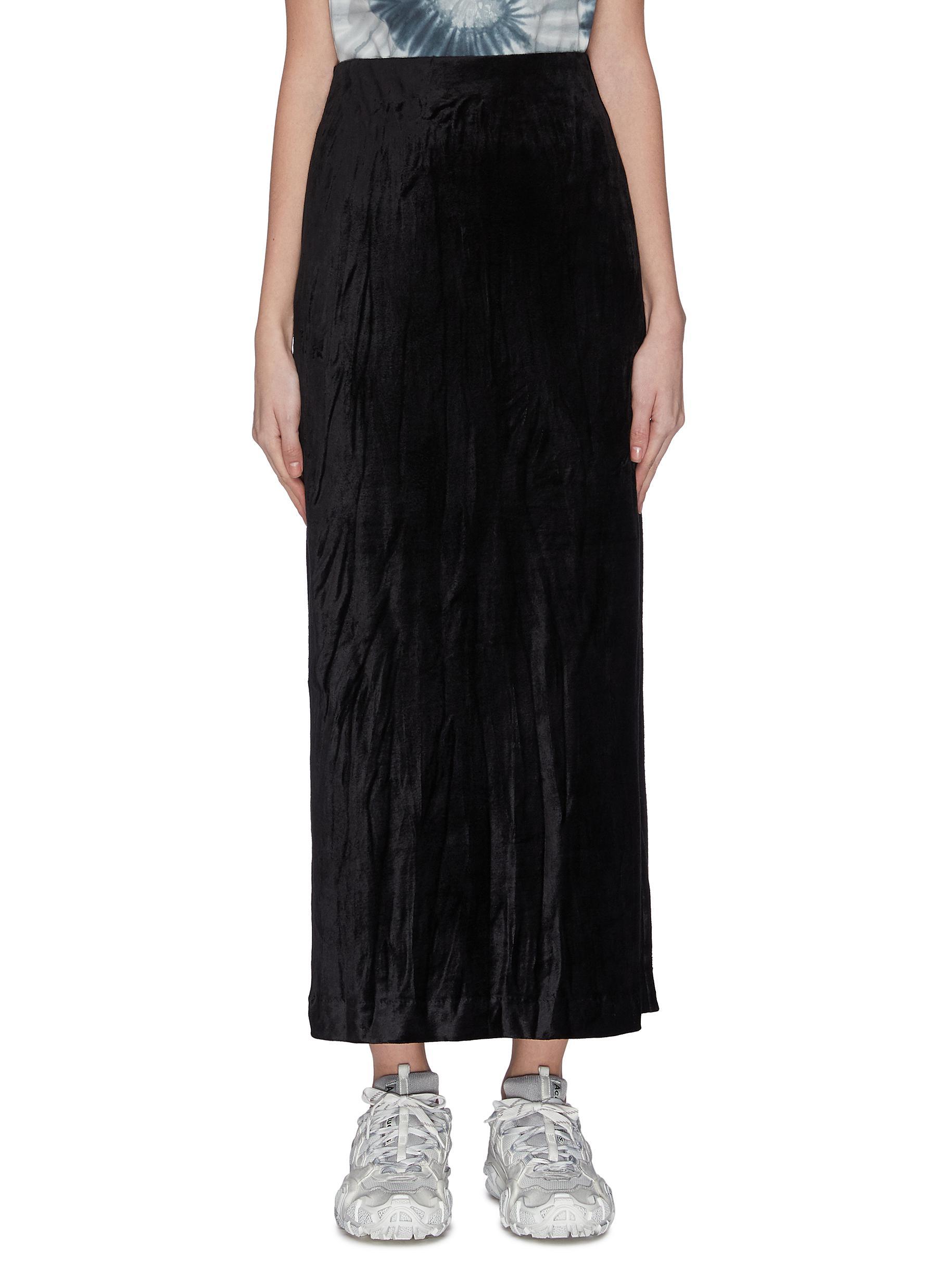 shop Ninety Percent Sustainable velour side slit midi skirt online