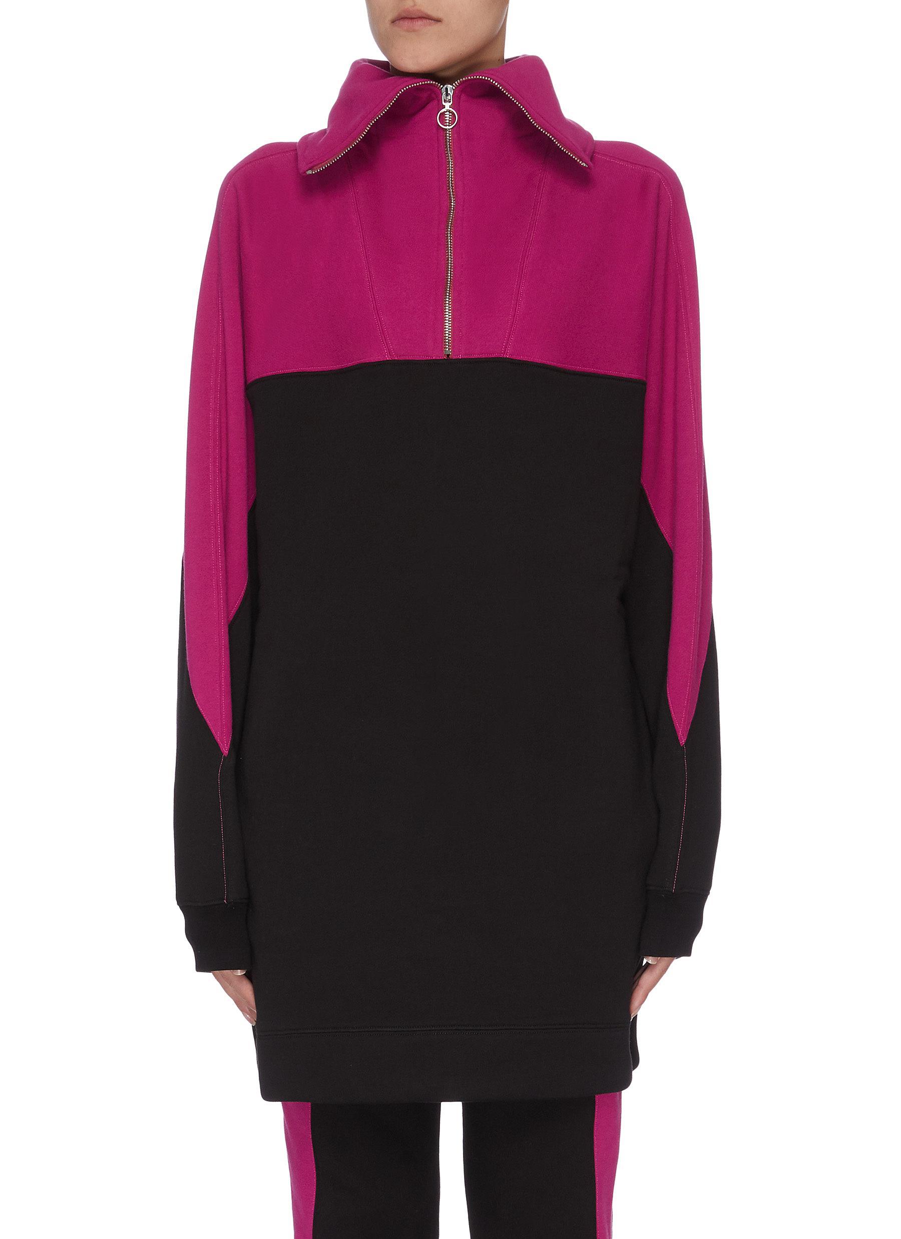 Buy Ninety Percent Tops Colour block organic cotton zip pullover