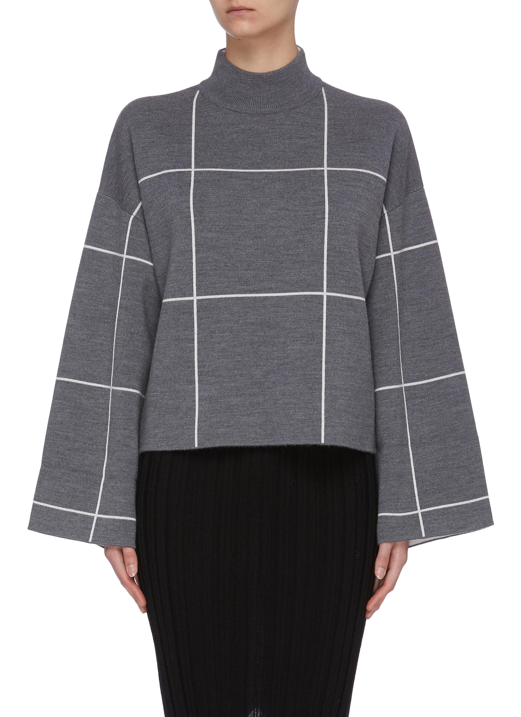shop Ninety Percent Double face check mock neck crop sweater online