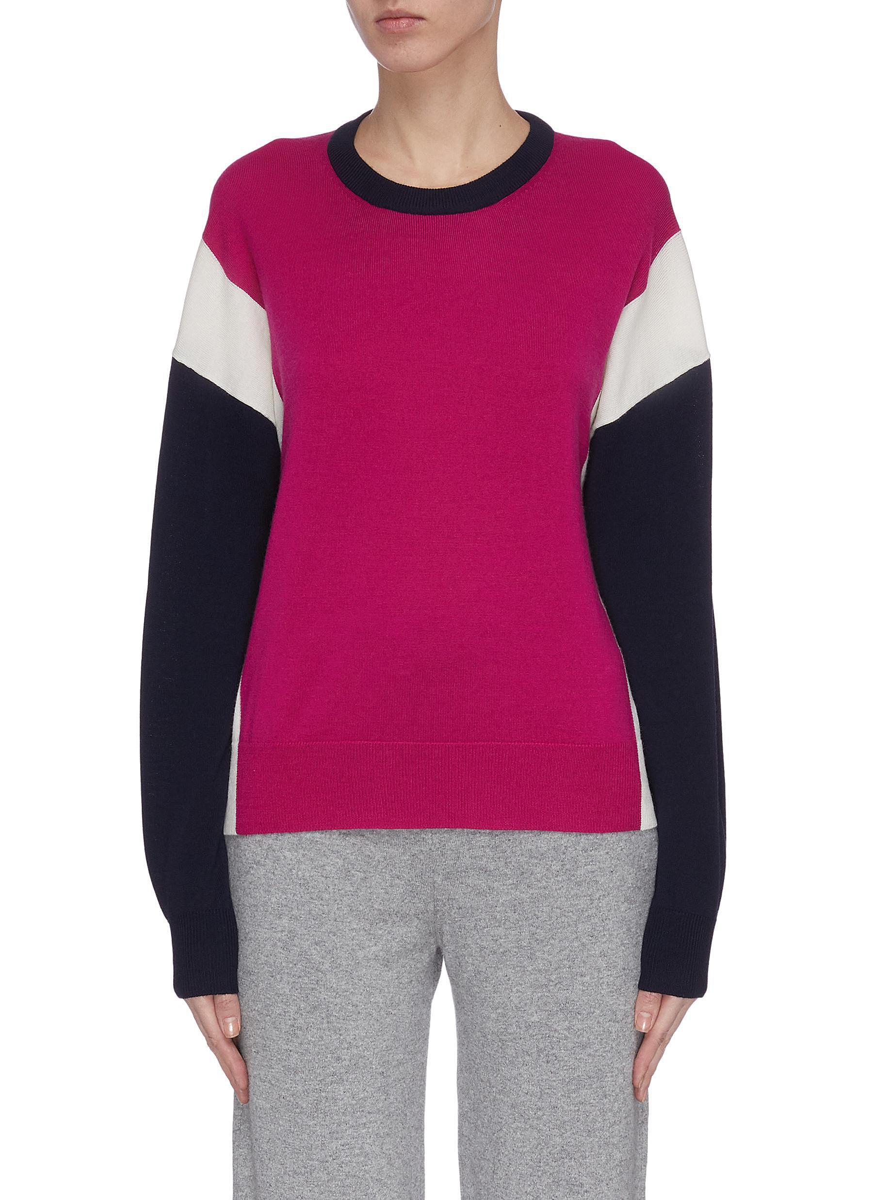 Buy Ninety Percent Knitwear Colourblock merino wool sweater