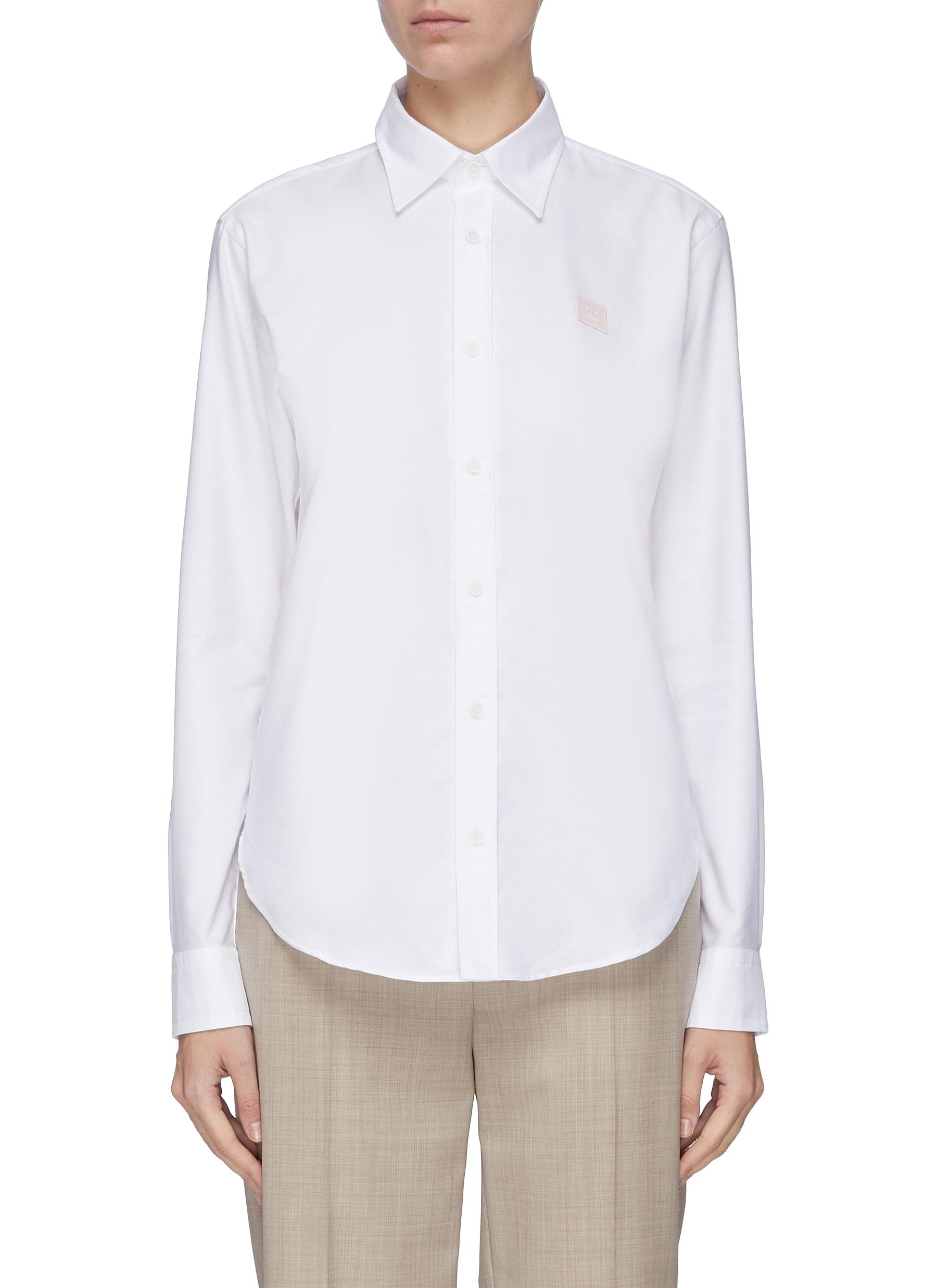 shop Acne Studios Face patch oxford shirt online