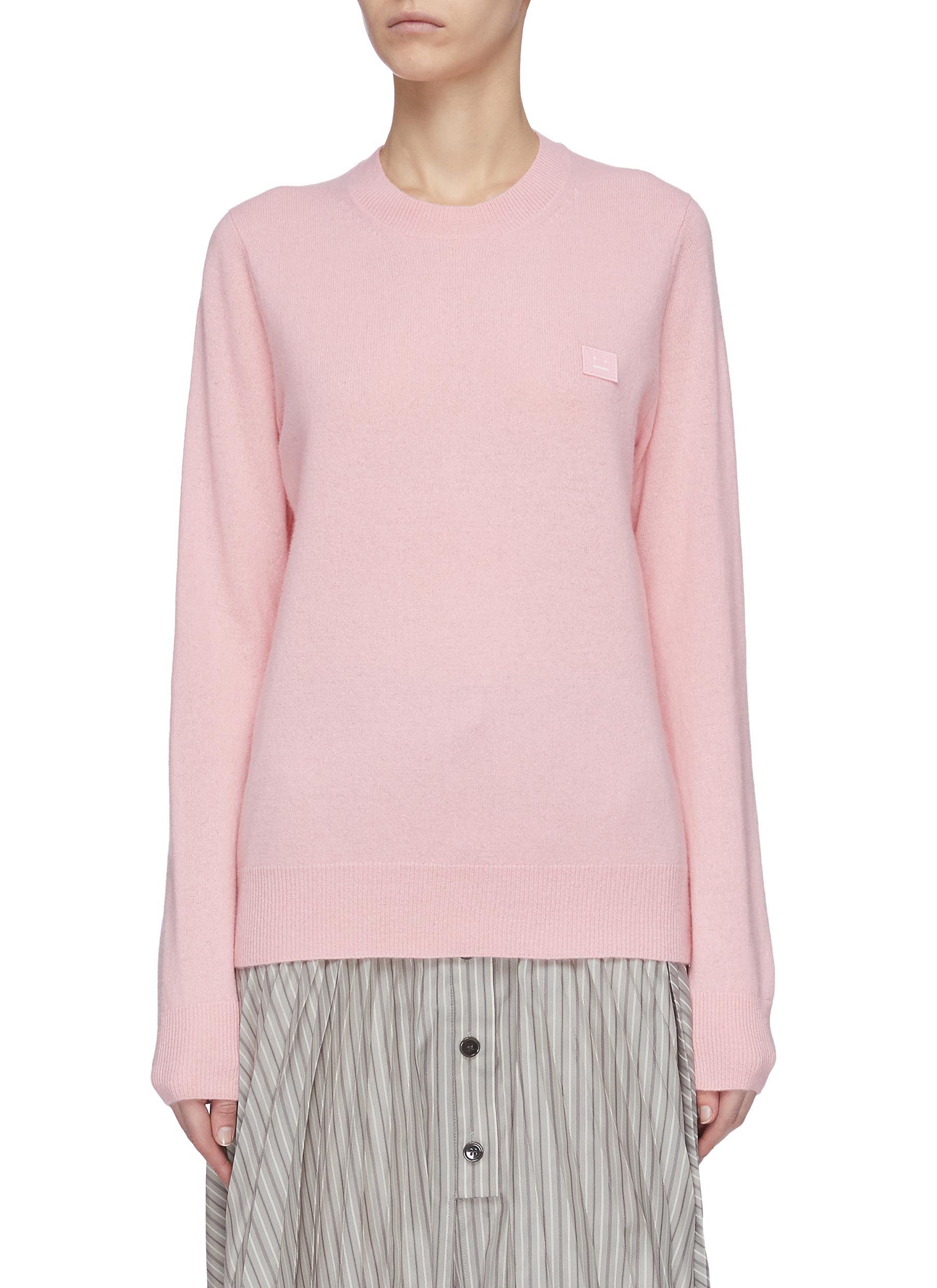 Buy Acne Studios Knitwear Face patch wool sweater