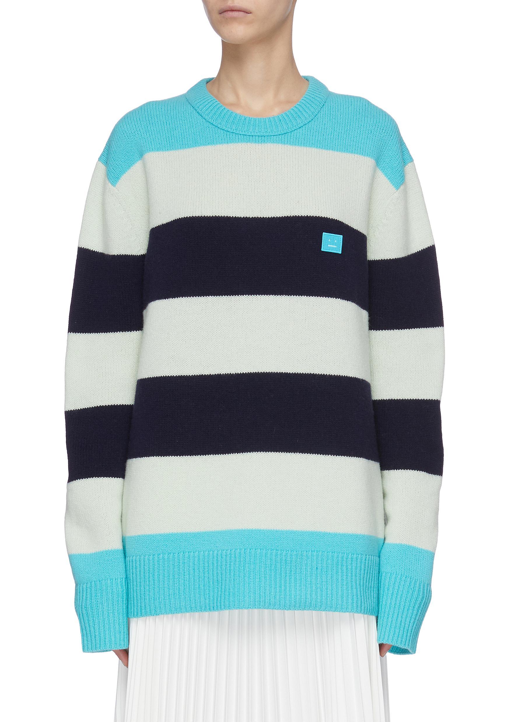 Buy Acne Studios Knitwear Block stripe face patch sweater