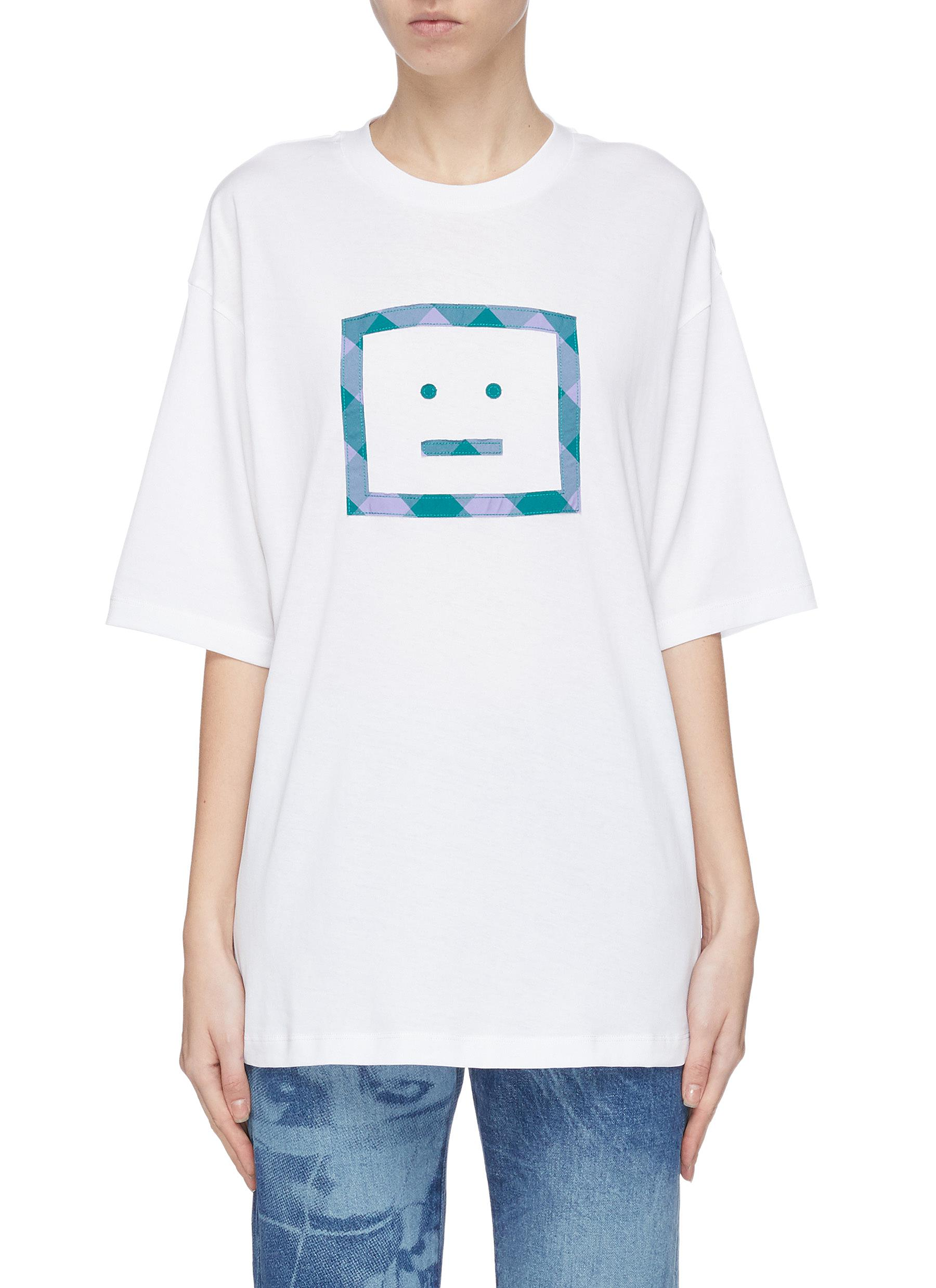 Buy Acne Studios Tops Face print oversized T-shirt