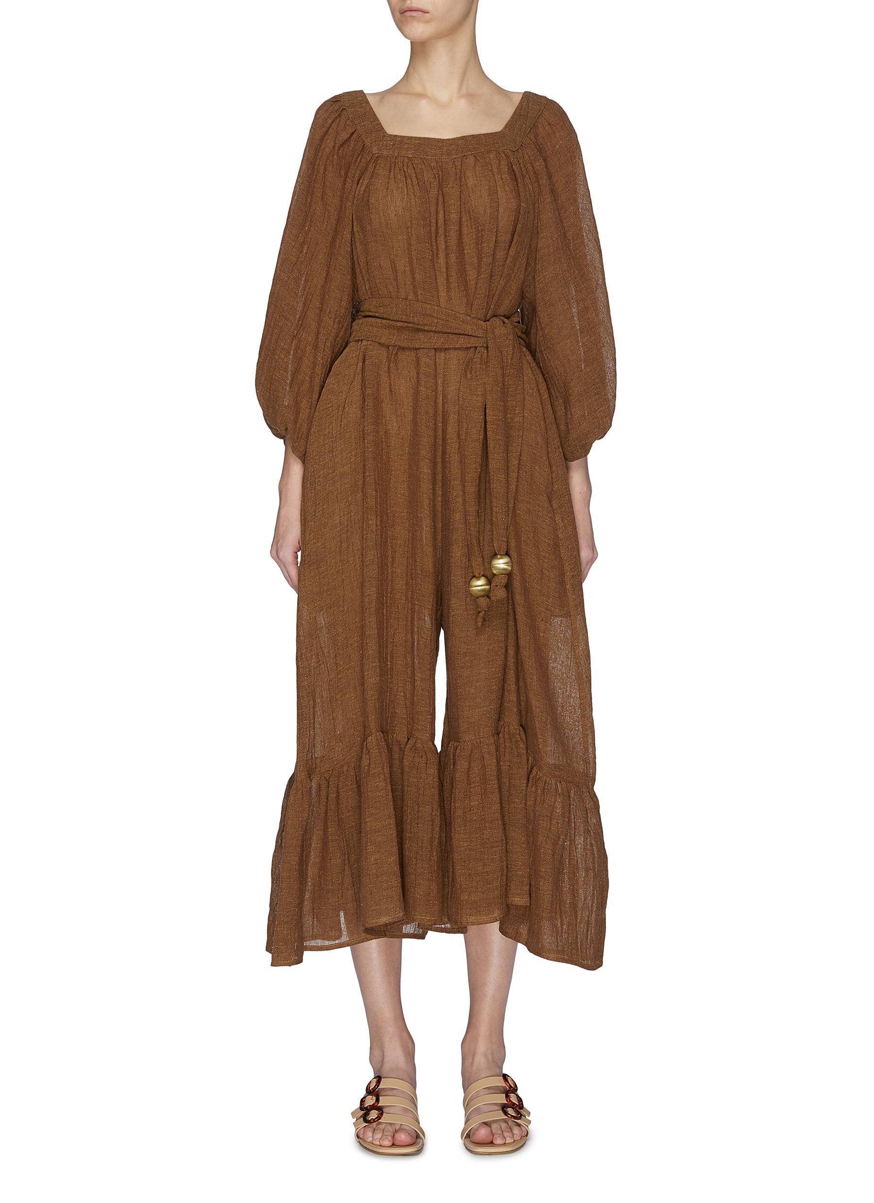 Buy Lisa Marie Fernandez Swimwear 'Laure' belted ruffle jumpsuit