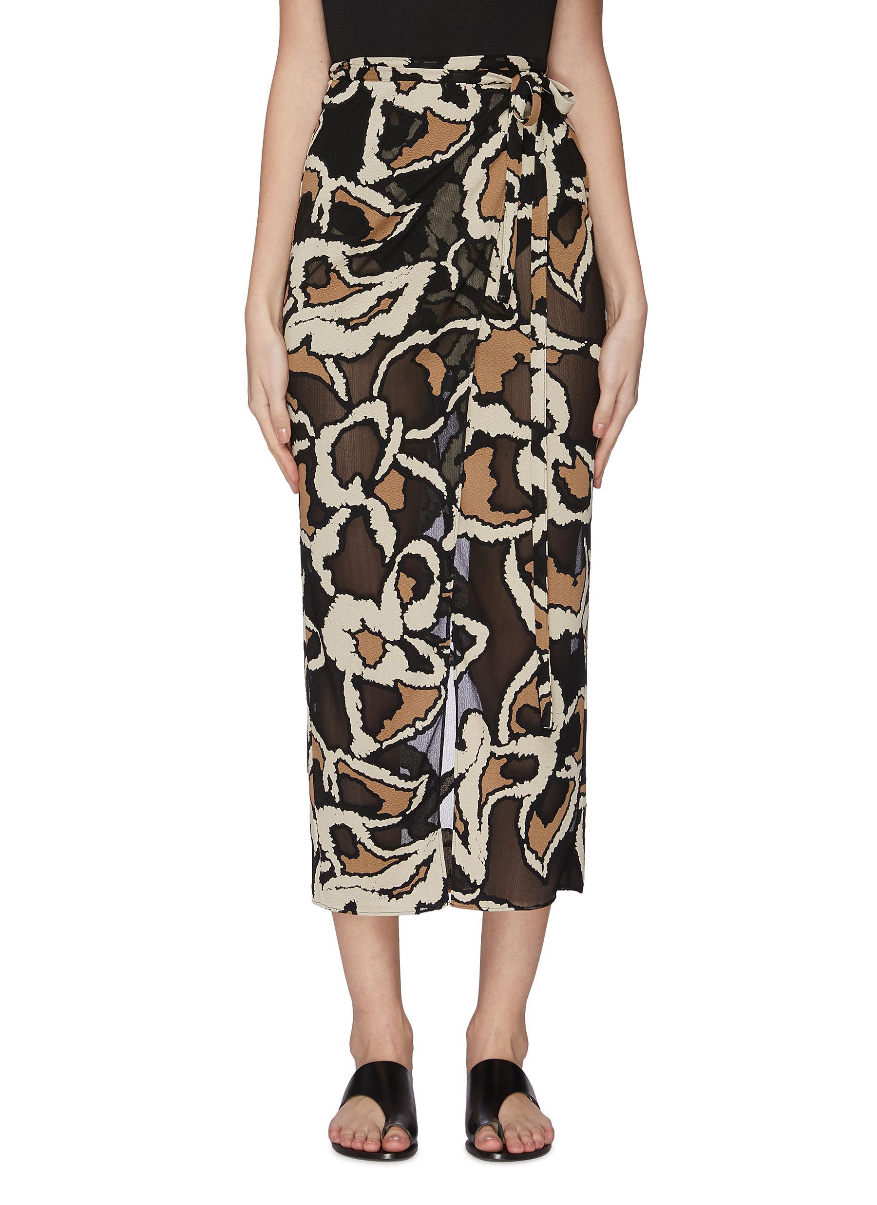 shop Lisa Marie Fernandez Graphic print wrap midi skirt online