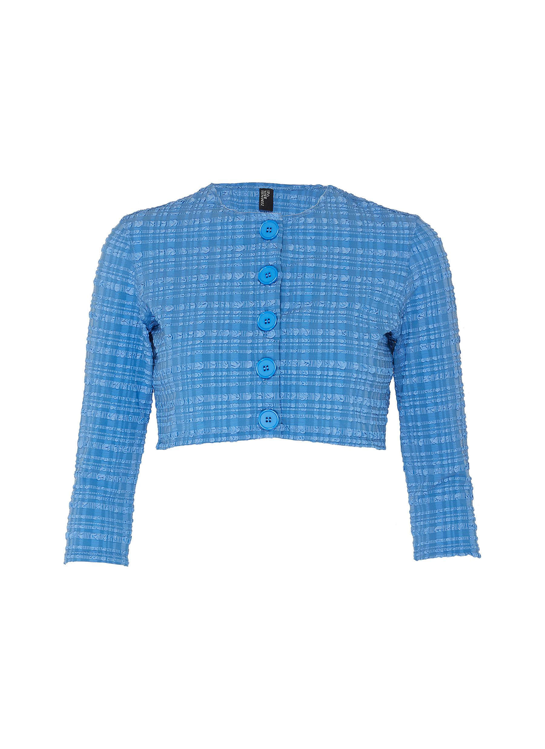 shop Lisa Marie Fernandez Checked seersucker crop cardigan online